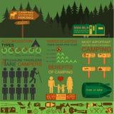 Kampieren infographics draußen, wandernd Stellen Sie Elemente für die Schaffung ein Lizenzfreie Stockfotografie