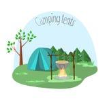 Kampieren mit Zelten Stockbilder