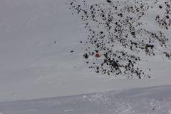 Kampieren Sie an einer Höhe von 5.200 Metern zwischen den West- und Ostspitzen vom Elbrus Stockbild