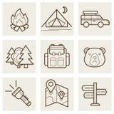 Kampieren und Entwurfs-Ikonen im Freien Lizenzfreies Stockfoto