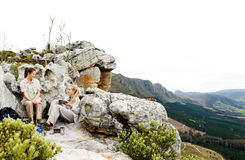 Kampierende panoramische Wanderung Stockfoto
