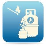 Kampierender Ofen mit Gasflaschen-Ikonenvektor Lizenzfreies Stockfoto
