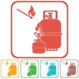Kampierender Ofen mit Gasflaschen-Ikonenvektor Lizenzfreies Stockbild