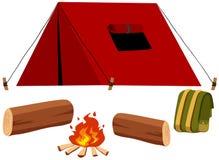 Kampierender Satz mit Zelt und Feuer vektor abbildung