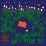 Kampierender Vektorhintergrund mit Wald, Bergen, Zelt und Feuer Stockfotografie