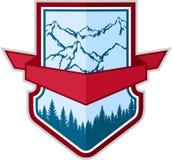 Kampierendes Logoemblem des Vektorbergabenteuers Lizenzfreies Stockbild