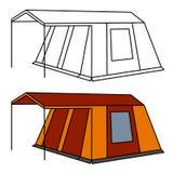 Kampierendes Zelt der großen alten Familie Stockfoto