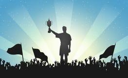 Kampioen met een trofee in menigte van mensen vector illustratie
