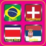 kampioenschap Voetbal Grafische vlaggen De Realistic Football ballen van groepsg Royalty-vrije Stock Fotografie