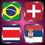 kampioenschap Voetbal Grafische vlaggen De Realistic Football ballen van groepsg Stock Fotografie