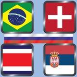 kampioenschap Voetbal Grafische vlaggen De Realistic Football ballen van groepsg Stock Afbeeldingen