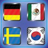 kampioenschap Voetbal Grafische vlaggen De Realistic Football ballen van groepsg Stock Foto