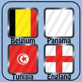 kampioenschap Voetbal Grafische vlaggen De Realistic Football ballen van groepsg Royalty-vrije Stock Foto's