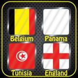 kampioenschap Voetbal Grafische vlaggen De Realistic Football ballen van groepsg Stock Foto's