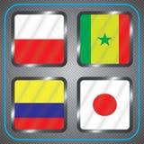 kampioenschap Voetbal Grafische vlaggen De Realistic Football ballen van groepsh Stock Fotografie