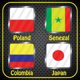 kampioenschap Voetbal Grafische vlaggen De Realistic Football ballen van groepsh Royalty-vrije Stock Foto's
