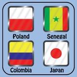 kampioenschap Voetbal Grafische vlaggen De Realistic Football ballen van groepsh stock illustratie