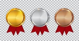 Kampioensgoud, Zilver en het Malplaatje van de Bronsmedaille met Rood Lint Pictogramteken van Eerst, Tweede en Derde Plaats o stock illustratie