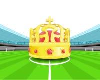 Kampioenskroon in het middenveld van de vector van het voetbalstadion Royalty-vrije Stock Fotografie