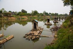 Kampong bathrooms. Simple floating bathrooms in Kalimantan stock photo