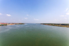 Kampong Cham view from Cambodian-Japanese friendship bridge, Phnom Penh, Cambodia. Stock Images