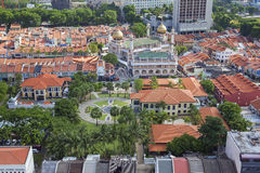 Kampong Glam with historic Buildings in Singapore. Kampong Glam with Malay Heritage Center and Sultan Mosque Aerial View Stock Photography