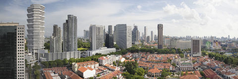 Kampong Glam in Singapore Aerial View Panorama. Kampong Glam with Singapore City Skyline and Sultan Mosque Aerial View Panorama Royalty Free Stock Photography
