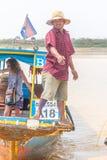 Kampong, Siem Reap, Cambodia February, 27 2015: Undefined boatma Royalty Free Stock Photos