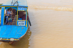 Kampong, Siem Reap, Cambodia February, 27 2015: Undefined touris Royalty Free Stock Photography