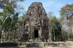 A ruined temple at Prasat Yeah Puon in Sambor Prei Kuk in Cambodia. Kampong Thom, Cambodia-January 12, 2019: A ruined temple at Prasat Yeah Puon in Sambor Prei royalty free stock photos