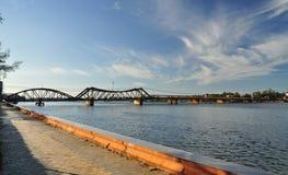 Kampot法国殖民地桥梁,柬埔寨 免版税图库摄影