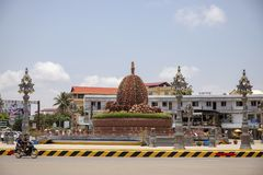 Kampot, Cambodia - 12 April 2018: town view with durian monument on city square. Cambodian travel photo royalty free stock photos