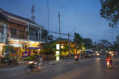 Kampot riverside by night in cambodia Stock Photo