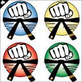 Kampsport färgade simbolseten. Vektor. Arkivbild