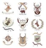 Kampstijl die en de jachtclub, embleem, embleem, illustratie in vectorformaat geschikt voor Web, druk kamperen Stock Fotografie