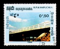 Kampuchea Cambodia postage stamp shows Bridge, serie, circa 1988. MOSCOW, RUSSIA - DECEMBER 21, 2017: A stamp printed in Kampuchea Cambodia shows Bridge, serie stock images