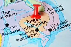 Kampuchea map Royalty Free Stock Photos