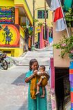 Kampung Pelangi在三宝垄印度尼西亚 免版税库存照片