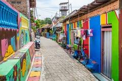 Kampung Pelangi i Semarang Indonesien Royaltyfria Bilder