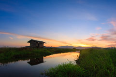 Kampung Sangkir, Kota Kelud,哥打基纳巴卢,沙巴,马来西亚Padd 免版税库存照片