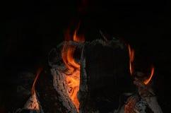Kampvuurvlammen en sintels 1 Stock Foto