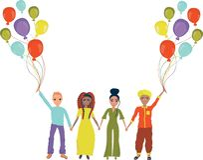 Kamratskap av olika nationer Folket av olika nationaliteter rymmer händer och rymmer ballonger vektor royaltyfri illustrationer