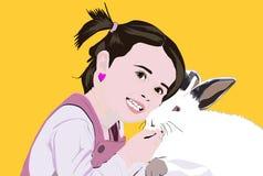 Kamratskap mellan lite flickan och en kanin stock illustrationer