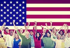 Kamratskap Team America Concept för Mång--person som tillhör en etnisk minoritet gruppfolk Royaltyfri Foto