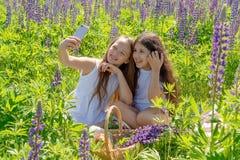 Kamratskapdag Två charma unga flickor med långt hår att göra selfie med en telefon på fältet med blommor T royaltyfri foto