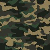 Kamuflażu bezszwowy deseniowy tło Klasycznej odzieży camo powtórki stylowy maskuje druk Zieleni brown czarnej oliwki kolory Zdjęcie Stock