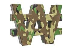 Kamuflażu wojsko wygrywał symbol, 3D rendering Zdjęcia Royalty Free