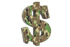 Kamuflażu wojska dolarowy symbol, 3D rendering Zdjęcia Royalty Free