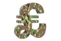 Kamuflażu wojska funtowego szterlinga symbol, 3D rendering Fotografia Stock