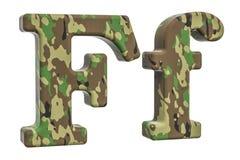Kamuflażu wojska list F, 3D rendering Zdjęcia Royalty Free